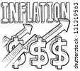 Doodle style inflation is increasing icon in vector format.  Includes text, up arrow, and dollar signs. - stock photo