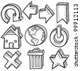 Doodle style internet symbol set that includes arrows, refresh, home, trash, close, favorite, and power icons - stock photo