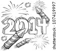 Doodle style 2014 New Year illustration in vector format with retro fireworks celebration background - stock vector