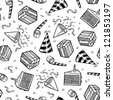 Doodle style party or celebration objects seamless vector background.  Includes presents, noisemakers, party hats, and confetti. - stock vector