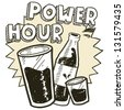 Doodle style power hour alcohol drinking sketch in vector format.  Includes pint glass, text, shot glass, and beer bottle. - stock vector