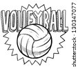 Doodle style volleyball illustration in vector format. Includes text and ball. - stock photo