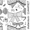 Doodle textured bows seamless pattern. - stock vector