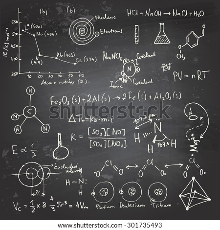 Doodle writing and drawing of chemical formulas with a chalk on a blackboard