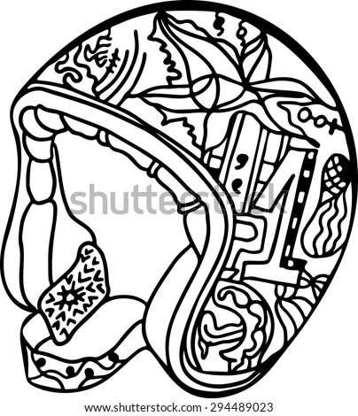 Doodle Zentangle T-Shirt Design, Monochrome Retro Pattern, Motorcycle Helmet Close Up, Youthful Urban Subculture Extreme Sport