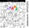 doodles -big vector set - birthday - stock vector