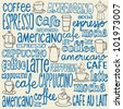 Doodles coffee icons and words - stock vector