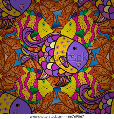Doodles colorful fishes on yellow and orange floral background. Vector illustration.
