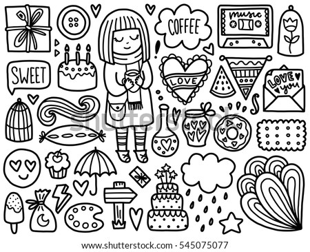 Doodles cute elements. Black vector coloring page. Illustration with hearts and cake, girl and gift, cloud and stars. Design for prints and cards.