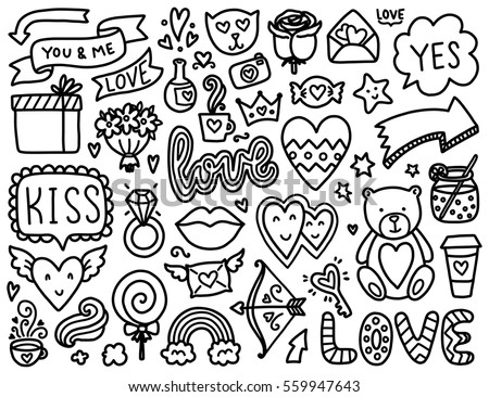 Coloring Pictures Of Animals And Flowers : Doodles cute elements color vector items stock 524837755