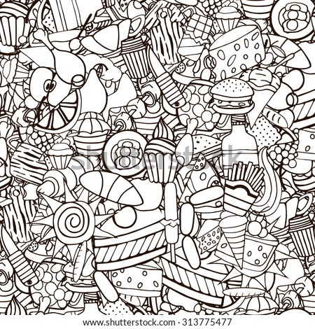 Doodles on the subject of fast food and sweets seamless pattern. Cartoon vector hand-drawn