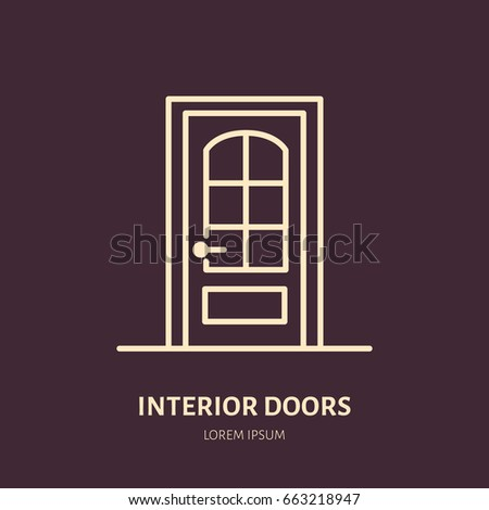 Doors installation repair line icons various stock vector 666706759 shutterstock for Interior doors installation services