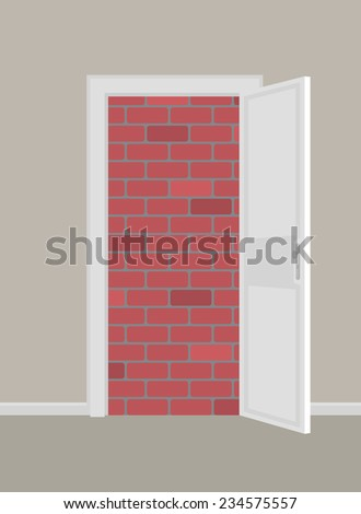 Doors to brick wall concept. EPS8.