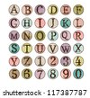 Dot Alphabet Set - More Letters and Numbers in Portfolio - stock vector