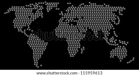 Dotted World Map Globe Made of Star Shapes. Vector EPS 10.