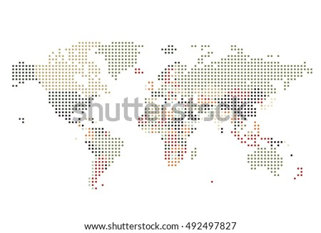 Dot world map isolated on white vectores en stock 247913824 dotted world map of square dots on white background vector illustration gumiabroncs Image collections