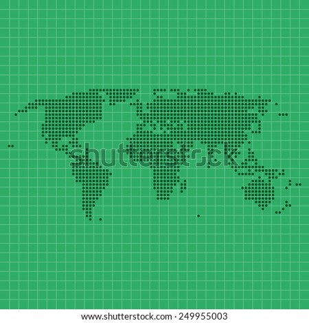 dotted world map with geographic grid