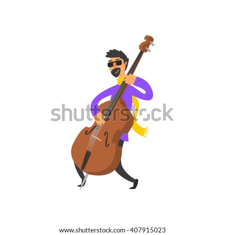 Double Bass Player Vector Illustration In Primitive Cartoon Childish Style Isolated On White Background