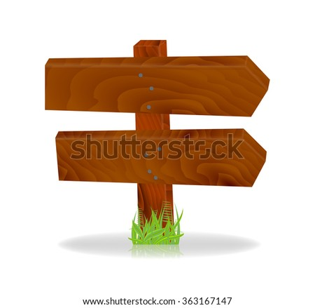 Double wooden sign, vector, 10eps.