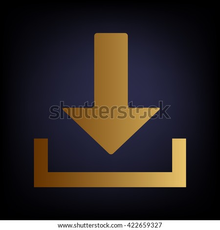 Download sign. Golden style icon