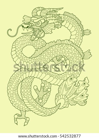 Dragon coloring book for adults vector illustration. Anti-stress coloring for adult. Tattoo stencil. Zentangle style. Lace pattern