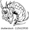 Dragon head tattoo. Back and white vector illustrations. - stock vector