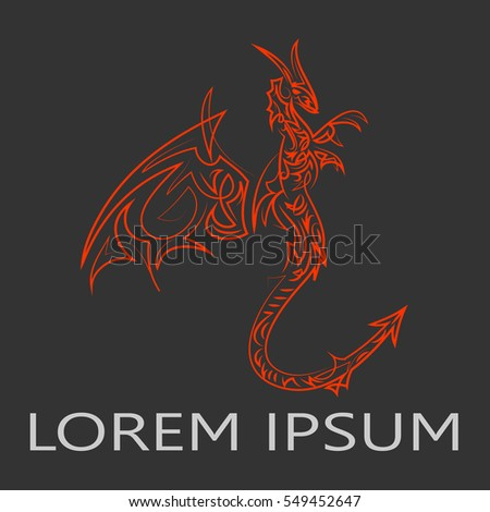 Dragon logo with a wing silhouette, business emblem. Flying Animal sign. Vector illustration.