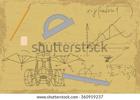 drawing and schematic of the calculation of the aircraft on the grunge background