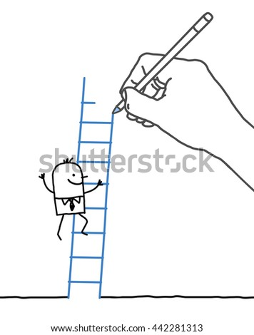 Drawing big hand and businessman - climbing up