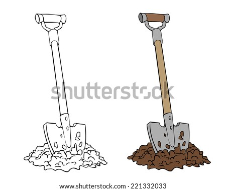 Cartoon shovel ground vector illustration stock vector for Gardening tools drawing with names