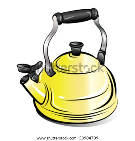 drawing of the yellow teapot kettle on white background, vector illustration