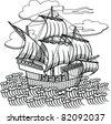 drawing old sailing ship, designed as woodcut 1 - stock