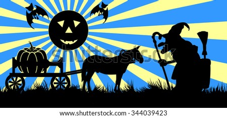 Drawing symbolizing Halloween consisting horse and wagon, pumpkins, bats, witch