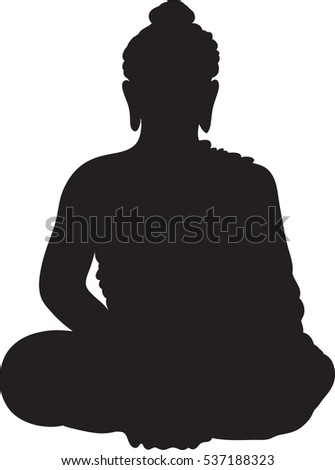 Drawing the black silhouette of sitting buddha on a white background. Hand drawn vector stock illustration