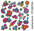 drawings in a children's style of transport - stock vector