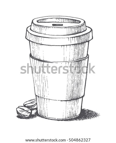 Paper coffee cup graphic style stock vector 561786472 for How to draw a coffee bean