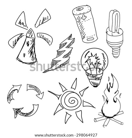 Drawn graphic pictures on isolated white background. Vector illustration