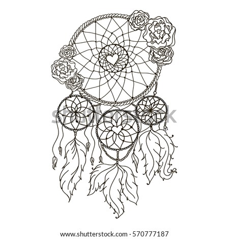 Dream Catcher With Feathers And Butterflies American Indian Traditional Protective Symbol