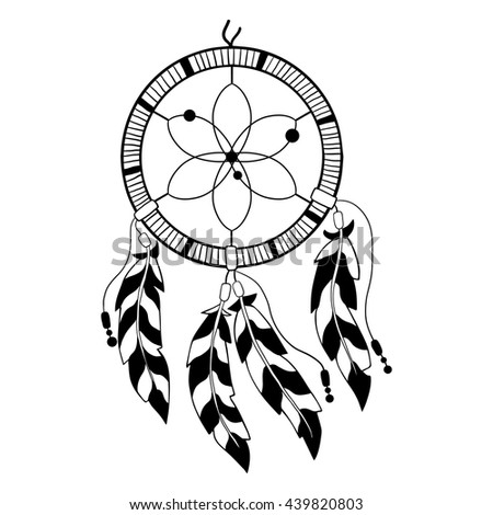 Collection hand drawn feather dreamcatchers vector stock for Dreamcatcher tattoo template
