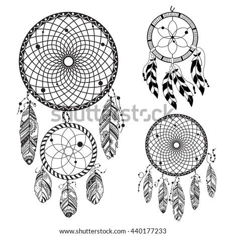 dream catcher tattoo template - dreamcatcher vector illustration stock vector 304778918