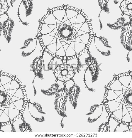 Dreamcatcher is then decorated with sacred items such as feathers and beads.Dream catcher seamless parren vector illustration.