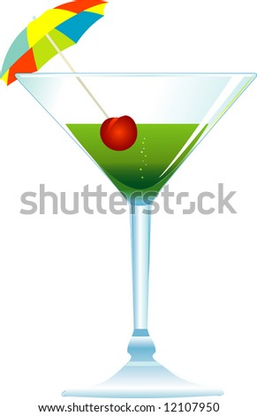 Dressed cocktail with umbrella and cherry