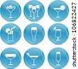 drinks icons on blue balls - stock vector