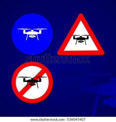 Drone Signs set of three, EPS10 Vector illustration