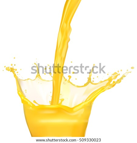 Drop orange juice splash isolated on white background, realistic vector illustration