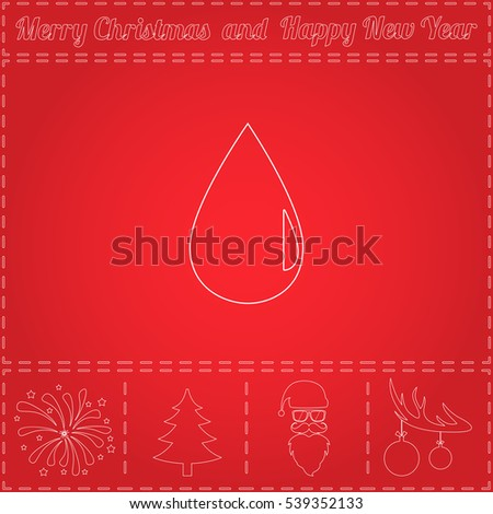 drop Simple flat vector button. Thin line icon and bonus outline symbol for New Year - Santa Claus, Xmas Tree, Firework, Balls on deer antlers