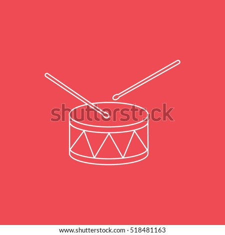 Drum Line Icon On Red Background