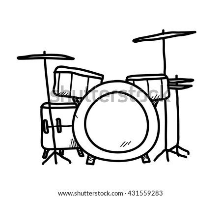 Drum Set Doodle A Hand Drawn Vector Illustration Of