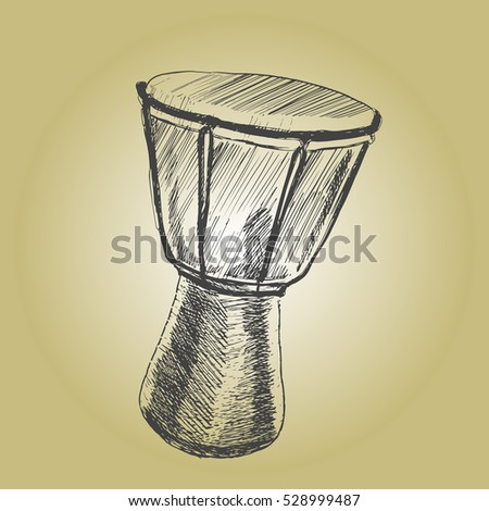Drums tam tam.Musical instruments. Sketch hand drawn vector illustration. Engraving retro vintage style.