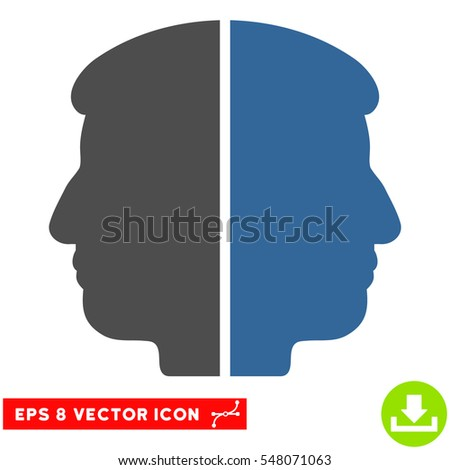 Dual Face EPS vector icon. Illustration style is flat iconic bicolor cobalt and gray symbol on white background.